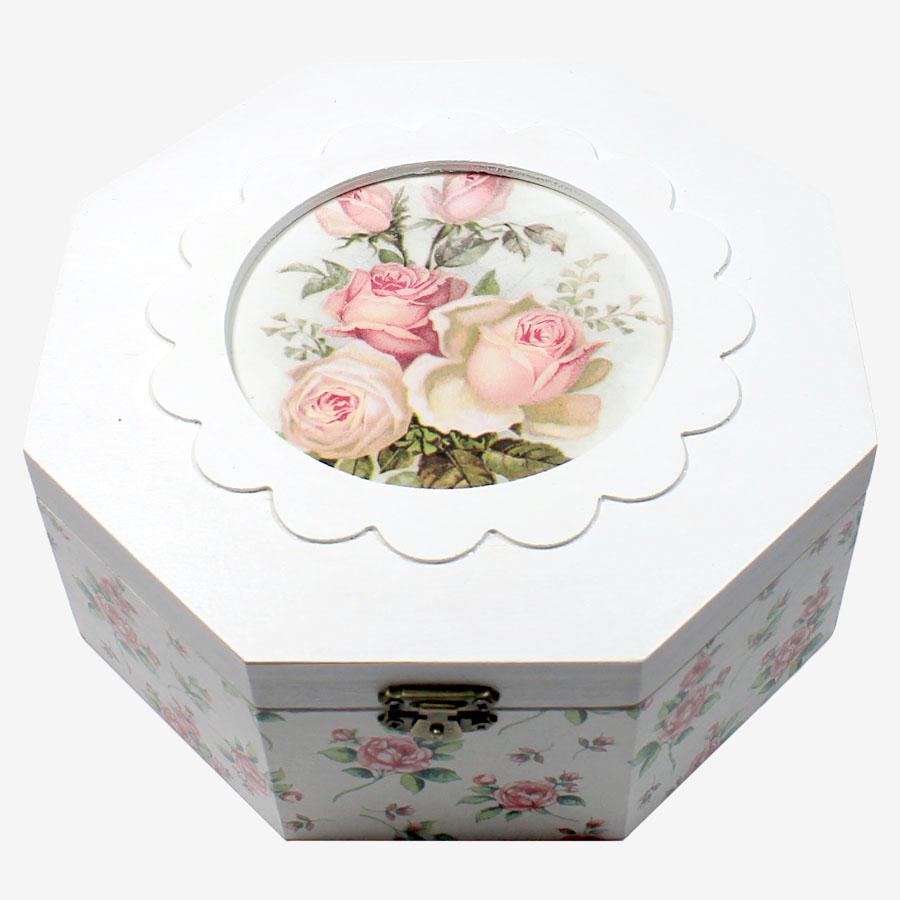 Rózsamintás nyolcszögletű doboz
