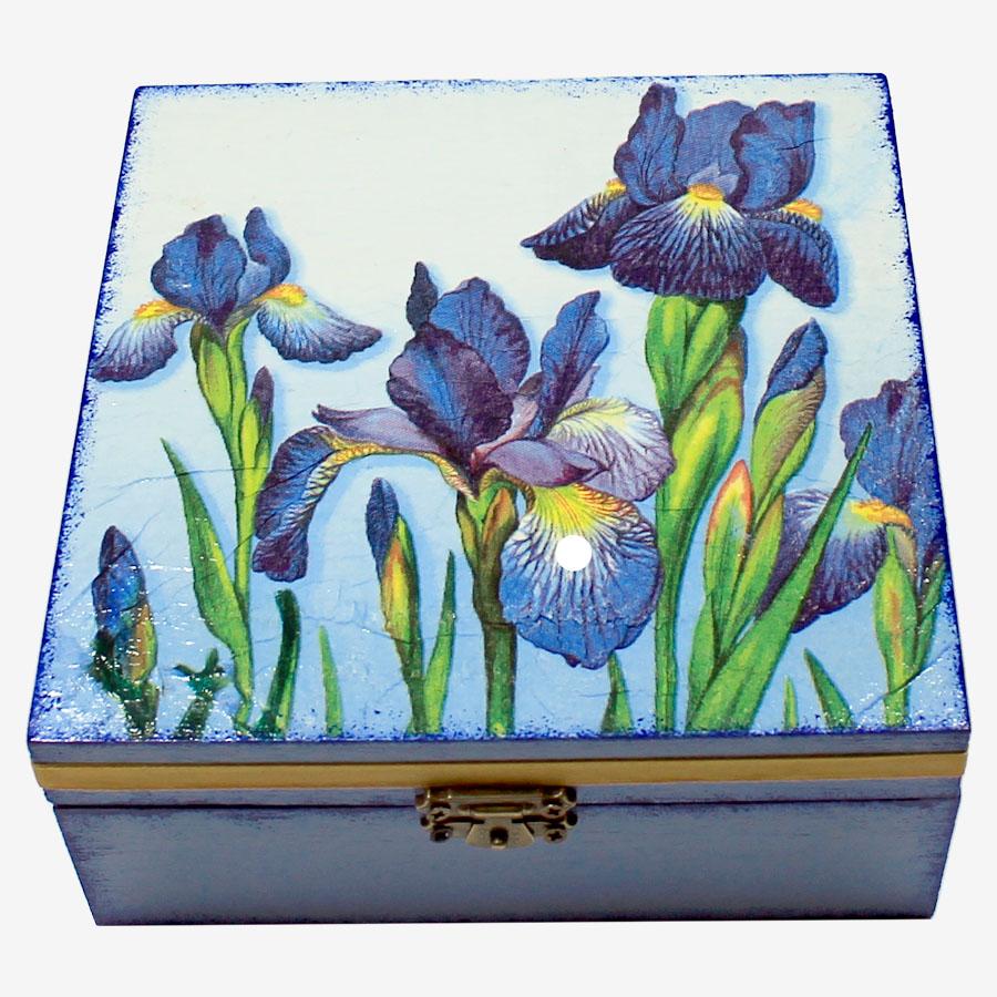 Kék íriszmintás, kocka alakú doboz