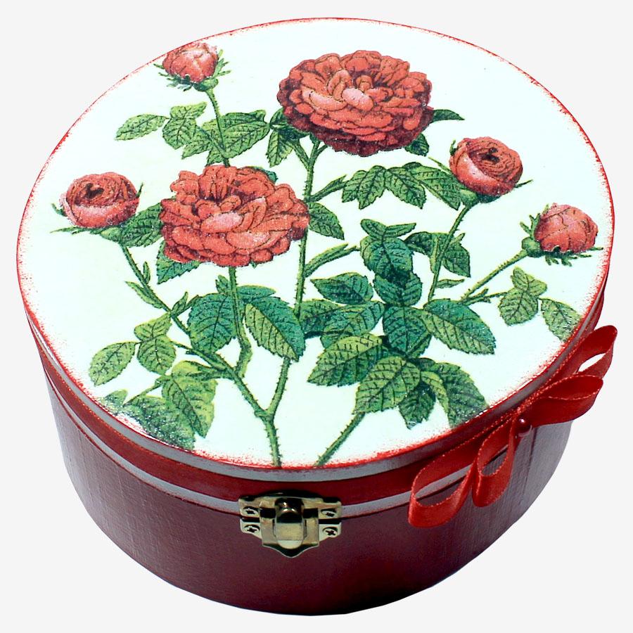 Piros, rózsamintás kördoboz