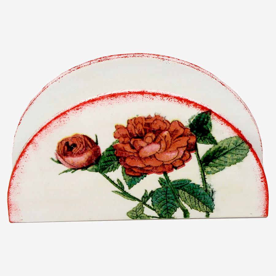 Piros, rózsamintás szalvétatartó