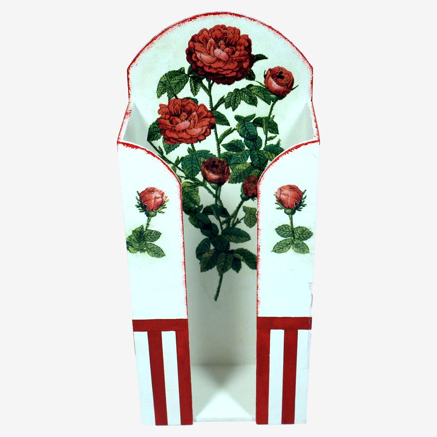 Piros rózsamintás papírzsebkendő-tartó