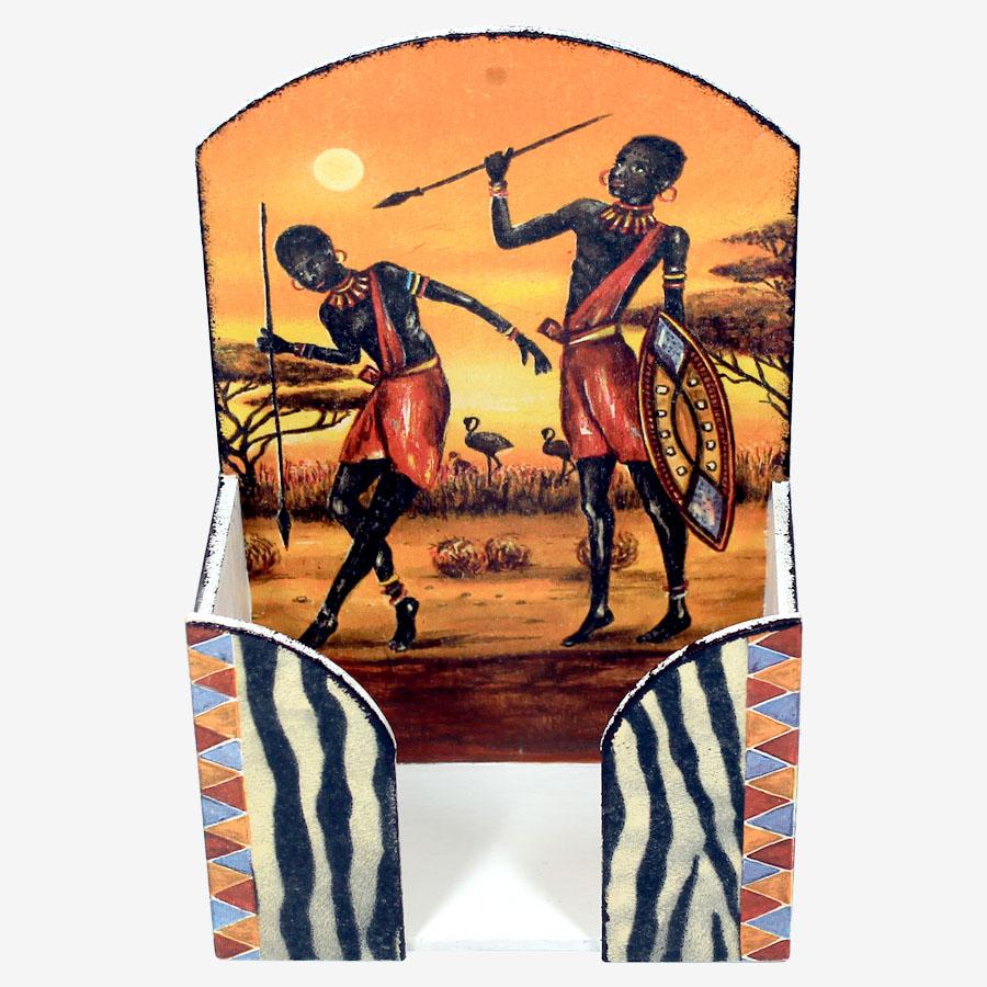 Narancsszínű, afrikai mintás papírzsebkendő-tartó