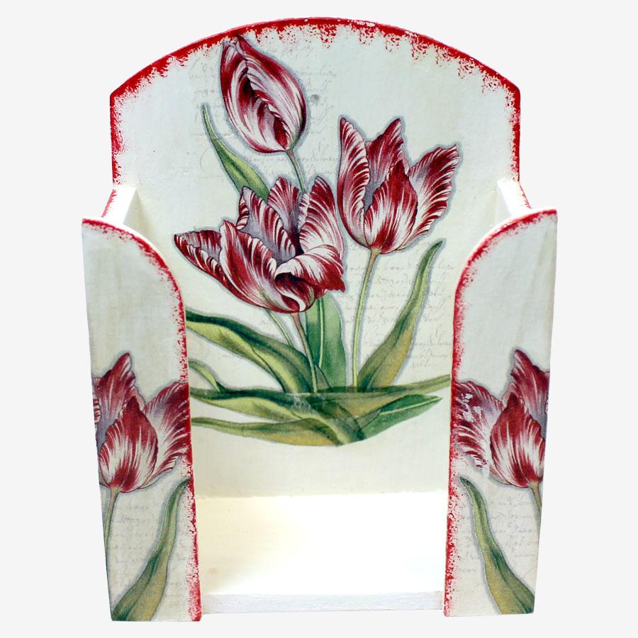 Tulipánmintás papírzsebkendő-tartó