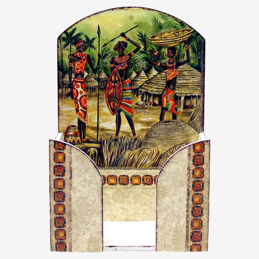 Lándzsás, afrikai mintás papírzsebkendő-tartó