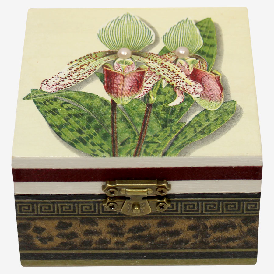 Orchideamintás dobozka