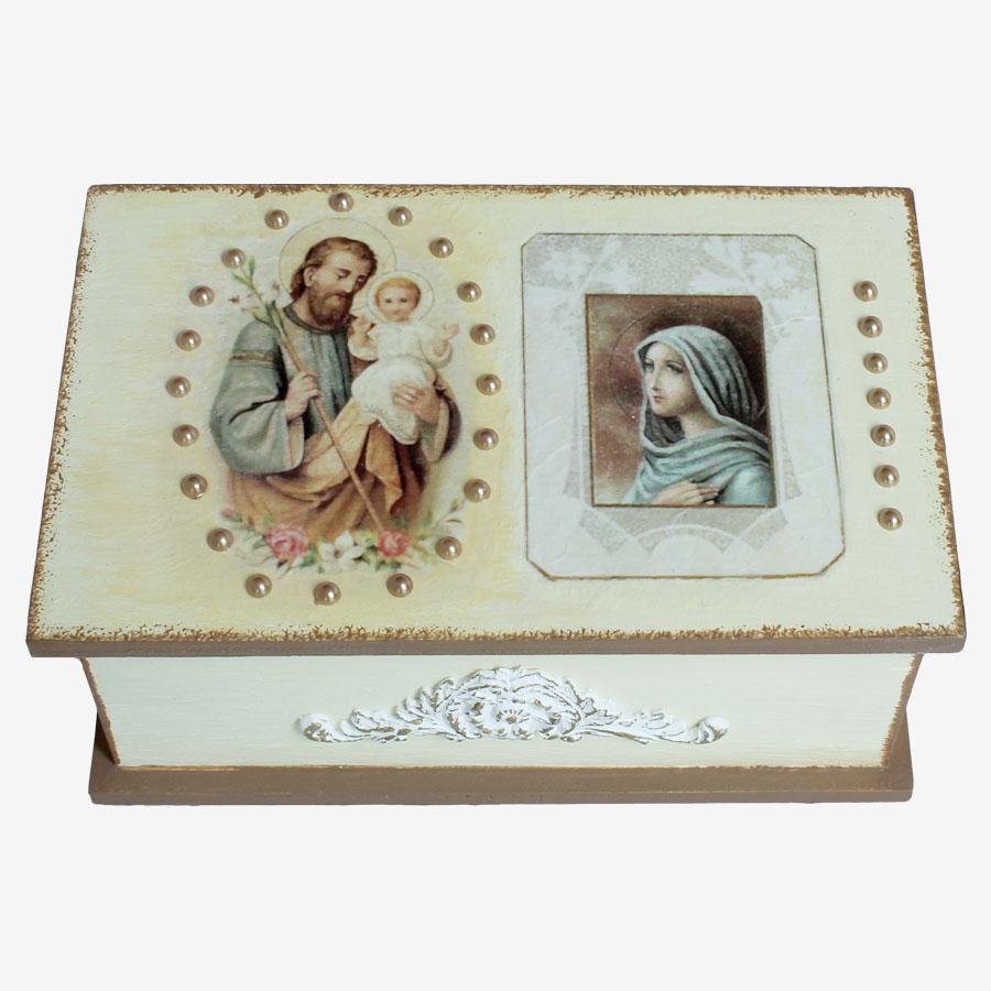 Egyházi, vallási témájú, négyszögletes doboz