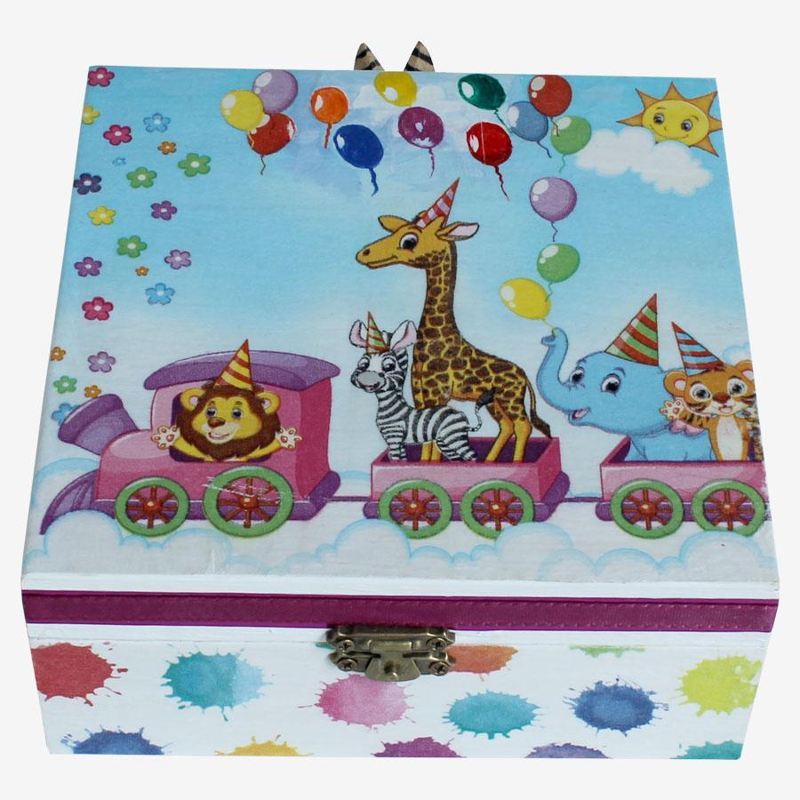 Állatos, kisvasutas, kocka alakú doboz
