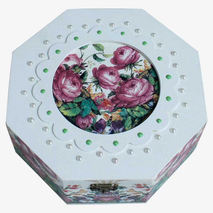 Rózsasazín virágcsokros, nyolcszöglető doboz