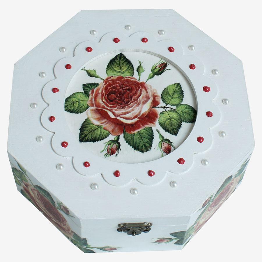 Rózsamintás, nyolcszögletű doboz