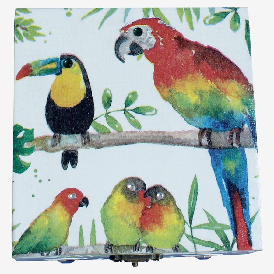 Papagájos, kocka alakú doboz