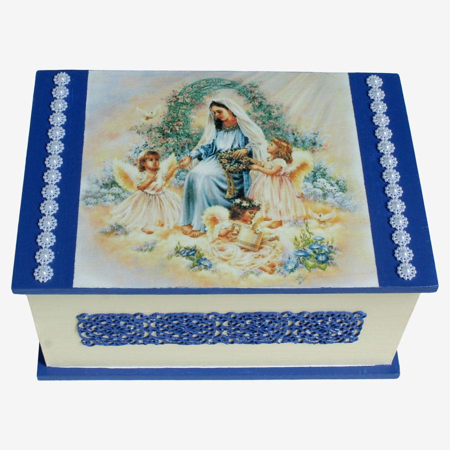 Angyalos, egyházi témájú, négyszögletes doboz